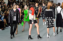 © Licensed to London News Pictures. 23/02/2016.  Models on the catwalk at the ASHLEY WILLIAMS show at the London Fashion Week Autumn/Winter 2016 show. Models, buyers, celebrities and the stylish descend upon London Fashion Week for the Autumn/Winters 2016 clothes collection shows. London, UK. Photo credit: Ray Tang/LNP