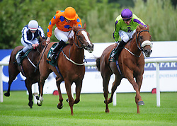 Sparkle'n'joy ridden by Shane Foley (right) win the Ballylinch Stud Irish EBF Ingabelle Stakes during day one of the 2018 Longines Irish Champions Weekend at Leopardstown Racecourse, Dublin.
