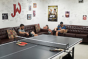 Fighters hang out in the dorms at Jackson Wink MMA in Albuquerque, New Mexico on June 9, 2016.