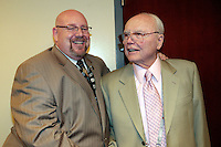 4 April 2009: PA Announcer David Courtney with Lou during Retirement Night at the Staples Center to honor 42 years of NHL Los Angeles Kings security manager Lou McClary.