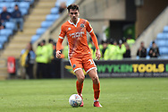 Shrewsbury Town midfielder Alex Gilliead (18) looks to release the ball during the EFL Sky Bet League 1 match between Coventry City and Shrewsbury Town at the Ricoh Arena, Coventry, England on 28 April 2019.