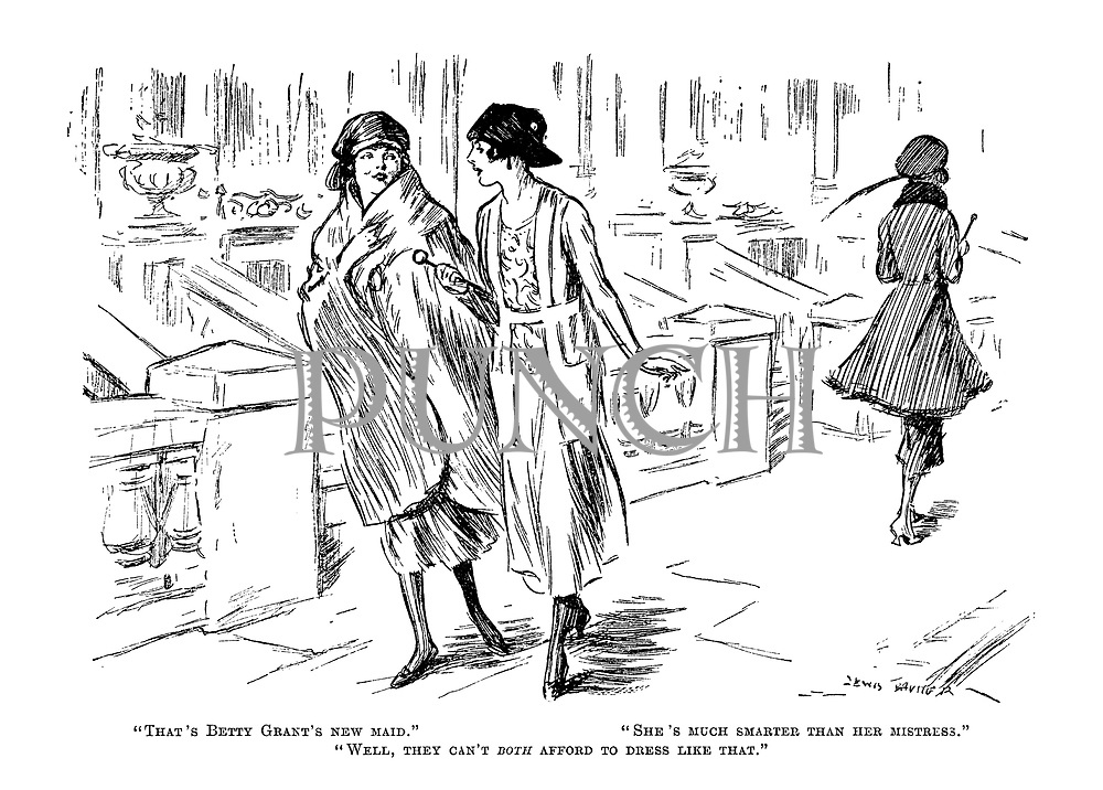 """""""That's Betty Grant's new maid."""" """"She's much smarter than her mistress."""" """"Well, they can't both afford to dress like that."""""""