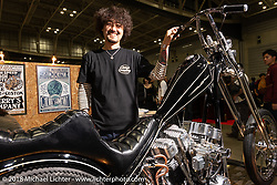 Cherry's Company's Kaichiroh Kross Kurosu with his latest custom - a 1967 Harley-Davidson Shovelhead chopper at the 27th Annual Mooneyes Yokohama Hot Rod Custom Show 2018. Yokohama, Japan. Sunday, December 2, 2018. Photography ©2018 Michael Lichter.