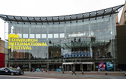 Exterior view of glass facade of Festival Theatre in Edinburgh, Scotland, UK
