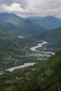 A view of the valley and mountains in Dahding District, Nepal.