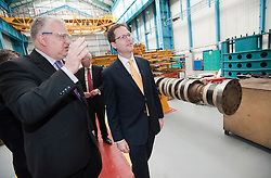 RE-ISSUE NOTE THIS IS A TODAY PICTURE © London News Pictures. 10/03/2012.Newcastle, UK. Liberal Democrat leader NICK CLEGG on a tour of Siemens Energy Service Training Centre in Newcastle Upon Tyne on March 11th 2012 where he met craft apprentices with Business Secretary VINCE CABLE. The Liberal Domocrat Spring Conference is being held in Newcastle this weekend. Photo credit : Ben Cawthra/LNP