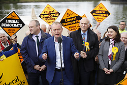 © Licensed to London News Pictures. 01/05/2017. London, UK. Lib Dem party leader starts a day of campaigning in Kingston-Upon-Thames on the election battle bus. The general election is on June 8th 2017. Photo credit: Peter Macdiarmid/LNP