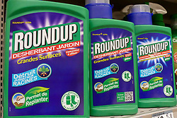 Illustration of the glyphosate-based Roundup. Monsanto Bayer-owned Monsanto has been hit with its third jury verdict in California tying its Roundup weed killer to cancer. Bayer faces more than 13,400 Roundup-related lawsuits in the United States. A California jury has ordered Monsanto to pay $2 billion (€1.78 billion) to a couple who claimed the agribusiness giant's Roundup weed killer caused their cancer. May 13, 2019. Photo by Denis Thaust/Avenir Pictures/ABACAPRESS.COM