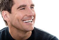 one  man mature handsome man close up portrait studio white background