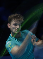 2017?11?18?.    ?????1???——ATP????????????????.       11?18?????????.       ???????????ATP?????????????????????????2?1???????????????.       ????????.(SP) BRITAIN-LONDON-TENNIS-ATP FINALS-GOFFIN VS FEDERER.(171118) -- LONDON, Nov. 18, 2017  David Goffin of Belgium competes during the singles semi-final match against Roger Federer of Switzerland during the Nitto ATP World Tour Finals at O2 Arena in London, Britain on Nov. 18, 2017. David Goffin won 2-1. (Credit Image: © Han Yan/Xinhua via ZUMA Wire)