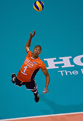 20150620 NED: World League Nederland - Portugal, Groningen<br /> De Nederlandse volleyballers hebben in de World League het vierde duel met Portugal verloren. Na twee uitzeges en de 3-0 winst van vrijdag boog de ploeg van bondscoach Gido Vermeulen zaterdag in Groningen met 3-2 voor de Portugezen: (25-15, 21-25, 23-25, 25-21, 11-15) / Nimir Abdelaziz #1