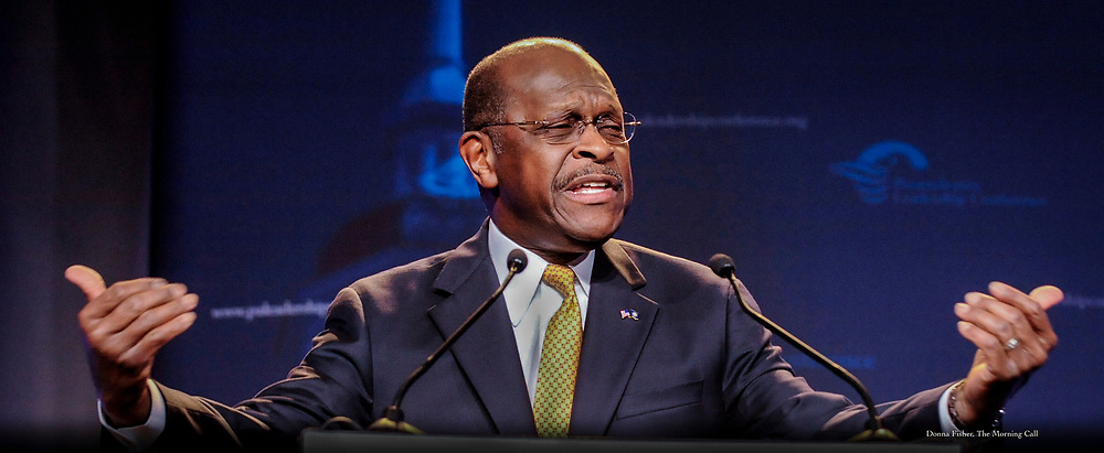Republican presidential contender Herman Cain speaks at the Pennsylvania Leadership Conference in Camp Hill Saturday, March 24, 2012.