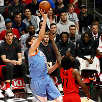 18 March 2018: LA Clippers center Boban Marjanovic (51) goes for the jump shot over Portland Trail Blazers forward Ed Davis (17) during the Portland Trail Blazers 122109 victory over the LA Clippers, at the Staples Center, Los Angeles, California, USA.