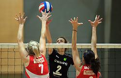 Barbara Kristan (2) of OK Vital at semifinal of 1st DOL volleyball match between OK Sloving Vital, Ljubljana and OK Nova KBM Branik, Maribor played in BIC center, on April 1, 2009, in Ljubljana, Slovenia. Nova KBM Branik won 3:1. (Photo by Vid Ponikvar / Sportida)