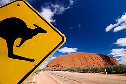 Detail of warning road sign with Kangaroo at Uluru in outback Australia