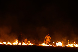 Controlled burn on the Daphne Prairie, a remnant of the Blackland Prairie, Mount Vernon, Texas, USA.