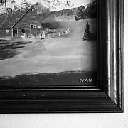 Artwork Ivan painted for Dot hangs above the bed as Ivan visits the room of his late wife, Dot, at the retirement home.