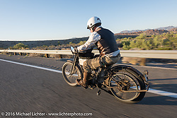 Dean Bordigioni of California riding his Class-1 single-cylinder single-speed 1914 Harley-Davidson as he leaves Lake Havasu City during the Motorcycle Cannonball Race of the Century. Stage-14 ride from Lake Havasu CIty, AZ to Palm Desert, CA. USA. Saturday September 24, 2016. Photography ©2016 Michael Lichter.
