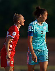 NEWPORT, WALES - Tuesday, June 12, 2018: Wales' Jessica Fishlock and Russia's captain Anna Kozhnikova during the FIFA Women's World Cup 2019 Qualifying Round Group 1 match between Wales and Russia at Newport Stadium. (Pic by David Rawcliffe/Propaganda)
