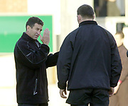 Northampton, Northamptonshire, UK, 08.12.2001, Saints new coach, New Zealander (All Black) Wayne Smith, chat's with, Steve THOMPSON, pre game, Northampton Saints vs  London Wasps, Zurich Premiership Rugby, Franklyn Gardens, [Mandatory Credit: Peter Spurrier/Intersport Images]
