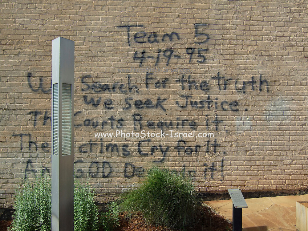 USA, Oklahoma, Oklahoma City, The Murrah Federal Building bombing Memorial Park in April 1995, Graffiti written on a wall during the rescue operation April 19th 1995 by a rescue worker