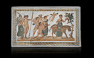 Picture of a Roman mosaics design depicting scenes from the Life of Dionysus, from the ancient Roman city of Thysdrus, House of Silenus. Late 2nd to early 3rd century AD. El Djem Archaeological Museum, El Djem, Tunisia. Against a black background<br /> <br /> In the central panel of this Roman mosaic the  teacher of Dionysus, Silenus, is being carried towards a donkey. .<br /> <br /> If you prefer to buy from our ALAMY PHOTO LIBRARY Collection visit : https://www.alamy.com/portfolio/paul-williams-funkystock/roman-mosaic.html . Type - El Djem - into the LOWER SEARCH WITHIN GALLERY box. Refine search by adding background colour, place, museum etc<br /> <br /> Visit our ROMAN MOSAIC PHOTO COLLECTIONS for more photos to download as wall art prints https://funkystock.photoshelter.com/gallery-collection/Roman-Mosaics-Art-Pictures-Images/C0000LcfNel7FpLI