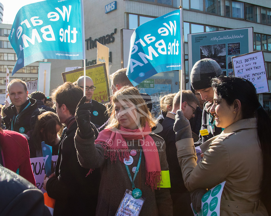 St Thomas' Hospital, London, April 26th 2016. Junior doctors picket St Thomas' hospital as they strike again against new contracts imposed on them by the Department of Health. ©Paul Davey<br /> FOR LICENCING CONTACT: Paul Davey +44 (0) 7966 016 296 paul@pauldaveycreative.co.uk