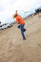 Cade Holman, 12, at work on his rope tricks.