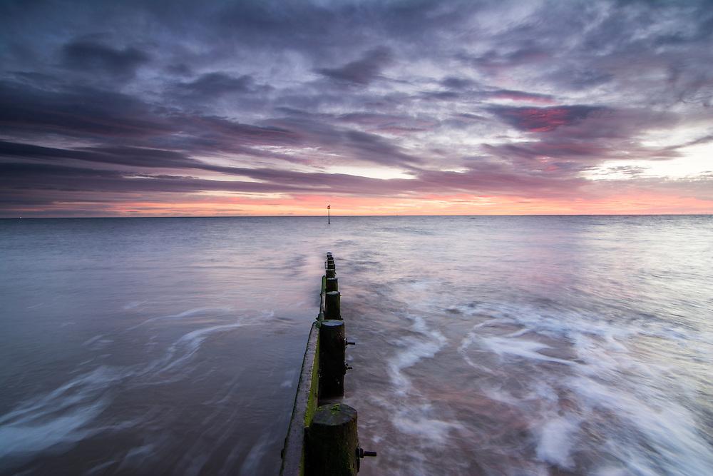 Sunrise at Hornsea beach, East Yorkshire.
