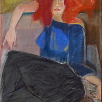 I was walking one day and in front of me was this woman with flaming red hair. I asked her to pose for me and she said absolutely. I did many nudes of her, but this time wanted to paint her clothed to create a sharp contrast with her hair. Materials: Pastel on Reeve's printing paper