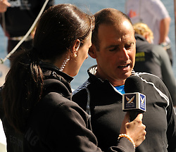 Hannah White interviewing Bruni at the St Moritz Race. Photo:Chris Davies/WMRT