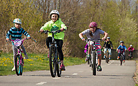 Bicyclists on the Wow Trail in Laconia.  (Karen Bobotas Photographer)