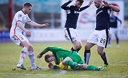 Inverness Caledonian Thistle's keeper Owain Fon-Williams with Dundee's Rory Loy and Dundee's Gary Harkins. <br /> Dundee 1 v 1 Inverness Caledonian Thistle, SPFL Ladbrokes Premiership game played at Dens Park, 27/2/2016.