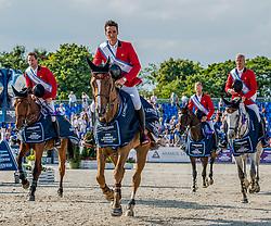 Winning Belgium team, Olivier Philippaerts,Pieter Devos,Niels Bruynseels  Jerome Guery.<br /> Photo FEI/