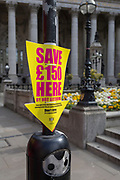 A warning of £150 fines for those caught littering in the streets of the City of London, the capital's financial district, on 25th March 2019, in London, England.