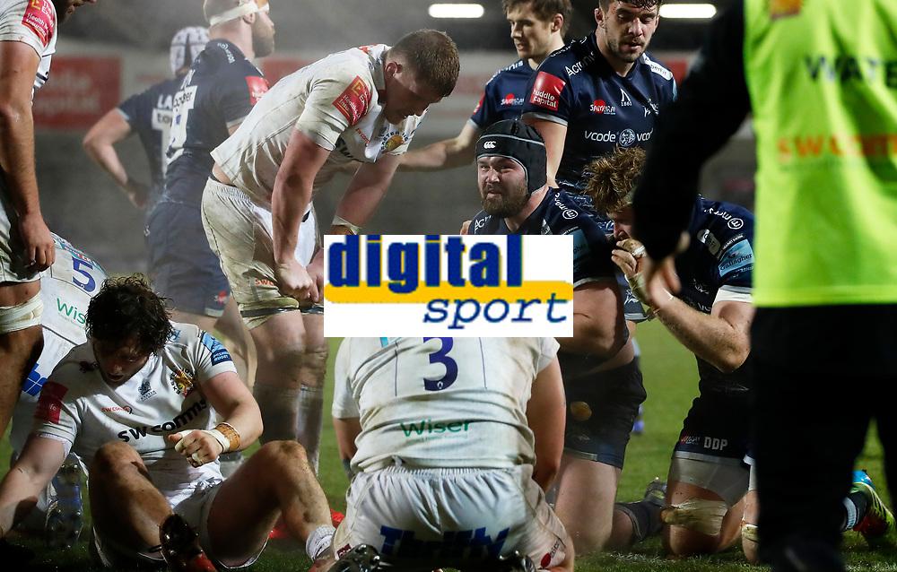Rugby Union - 2020 / 2021 Gallagher Premiership - Sale vs Exeter - A J Bell Stadium<br /> <br /> Bevan Rodd of Sale Sharks celebrates at AJ Bell Stadium <br /> <br /> Credit COLORSPORT/LYNNE CAMERON