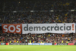 September 12, 2017 - Barcelona, Spain - Fans of FC Barcelona display a giant banner reading ''SOS Democracy'' ahead of the UEFA Champions League, Group D football match between FC Barcelona and Juventus FC on September 12, 2017 at Camp Nou stadium in Barcelona, Spain. (Credit Image: © Manuel Blondeau via ZUMA Wire)