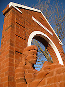 Brick Sculptures <br /> <br /> Brad Spencer is one of the very few artist in the world who creates sculptures from bricks. A BFA in Painting and Drawing from UNCG and an MFA in Sculpture, Brad has been a working sculptor since 1984. During his undergraduate work in painting, he took sculpture as an elective course, through which he discovered his calling.<br /> <br /> Spencer's mediums include clay, plaster, cement and bronze. In 1989 he began to experiment with bas relief sculpture in the brick medium that allowed him to use his experience in painting, drawing and sculpture. Spencer would carve unfired clay brick material in his Reidsville studio, then deconstruct the sculpture, brick by brick and have it fired. He would then reconstruct the sculpture using the fired bricks with mortar at the site of installation. He likes to involve the public when he reconstructs his work, <br /> Brick sculpture can be dated back to ancient Babylon but remains a fresh and interesting enhancement to any building, wall or environment. The brick medium has all the same characteristics of durability and low maintenance as a brick building, blends well in settings where other brick construction is present, looks good with landscaping and has a familiarity which is comforting to people. Brick sculpture adds intrigue and interest to a commonly understood material as viewers try to figure out the techniques by which it was created<br /> ©Brad Spencer/Exclusivepix