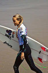 HUNTINGTON BEACH, California/USA (Saturday, July 31, 2010) - Alana Blanchard walks off the water after Junior Pro quarterfinals Heat 1 at the US Open of Surfing 2010.