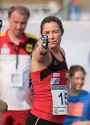 04.07.2015, Berlin, GER, Moderner Fünfkampf WM, im Bild Janine Kohlmann, OSC Potsdam, beim einschiessen // during Womens race of the the world championship of Modern Pentathlon at the Berlin, Germany on 2015/07/04. EXPA Pictures © 2015, PhotoCredit: EXPA/ Eibner-Pressefoto/ Kleindll<br /> <br /> *****ATTENTION - OUT of GER*****