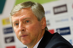 Vladimir Petrovic, head coach of Serbia during press conference after football match between National Teams of Slovenia and Serbia of UEFA Euro 2012 Qualifying Round in Group C on October 11, 2011, in Stadium Ljudski vrt, Maribor, Slovenia.  Slovenia defeated Serbia 1-0. (Photo by Vid Ponikvar / Sportida)
