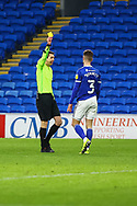 YELLW CARD Cardiff City's Joe Bennett (3) is shown a yellow card by referee Matthew Donohue during the EFL Sky Bet Championship match between Cardiff City and Millwall at the Cardiff City Stadium, Cardiff, Wales on 30 January 2021.