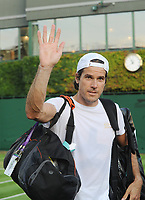 Tennis - 2017 Wimbledon Championships - Week One, Monday [Day One]<br /> <br /> Men's Singles, First Round match<br /> <br /> Tommy Haas (Germany) vs Ruben Bemelmans (Bel) <br /> <br /> Tommy Haas on court 16 says farewell to the crowd after losing his match,which he said would be his last Wimbledon Championship<br /> <br /> COLORSPORT/ANDREW COWIE