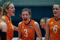 Jolien Knollema of Netherlands, Hyke Lyklema of Netherlands in action during semi final Netherlands - Serbia, FIVB U20 Women's World Championship on July 17, 2021 in Rotterdam