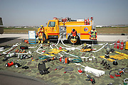 Israel, Tel Nof IAF Base, An Israeli Air force (IAF) exhibition fire fighter's tools and equipment