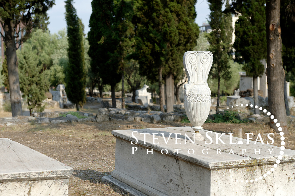 A loutrophoros (marble vessel) decorates the grave plot of the Messenians. Kerameikos. Athens. Greece. The grave plot consists of three stone tables (trapeza) and the Messians are Philoxenos, son of Dion from Messene and his sons Dion and Parthenios.