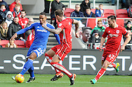 Cardiff City's Kenneth Zohore (l) takes on Bristol's Aden Flint. EFL Skybet championship match, Bristol City v Cardiff City at the Ashton Gate Stadium  in Bristol, Avon on Saturday 14th January 2017.<br /> pic by Carl Robertson, Andrew Orchard sports photography.