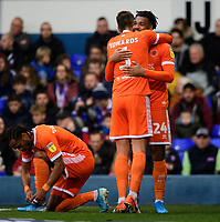 Blackpool's Joe Nuttall, right, celebrates scoring his side's equalising goal to make the score 1-1 with team-mate Ryan Edwards<br /> <br /> Photographer Chris Vaughan/CameraSport<br /> <br /> The EFL Sky Bet League One - Ipswich Town v Blackpool - Saturday 23rd November 2019 - Portman Road - Ipswich<br /> <br /> World Copyright © 2019 CameraSport. All rights reserved. 43 Linden Ave. Countesthorpe. Leicester. England. LE8 5PG - Tel: +44 (0) 116 277 4147 - admin@camerasport.com - www.camerasport.com