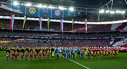 (L) Borussia Dortmund's team and (R) Bayern Munich's team before the UEFA Champions League Final football match between Borussia Dortmund and Bayern Munich at Wembley Stadium in London on May 25, 2013...England, London, May 25, 2013..Picture also available in RAW (NEF) or TIFF format on special request...For editorial use only. Any commercial or promotional use requires permission...Photo by © Adam Nurkiewicz / Mediasport