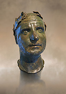 Bronze head of possibly Trebonianus Gallus, 251-253 A.D., inv 15032, Vatican Museum Rome, Italy, art background ..<br /> <br /> If you prefer to buy from our ALAMY STOCK LIBRARY page at https://www.alamy.com/portfolio/paul-williams-funkystock/greco-roman-sculptures.html . Type -    Vatican    - into LOWER SEARCH WITHIN GALLERY box - Refine search by adding a subject, place, background colour, museum etc.<br /> <br /> Visit our CLASSICAL WORLD HISTORIC SITES PHOTO COLLECTIONS for more photos to download or buy as wall art prints https://funkystock.photoshelter.com/gallery-collection/The-Romans-Art-Artefacts-Antiquities-Historic-Sites-Pictures-Images/C0000r2uLJJo9_s0c